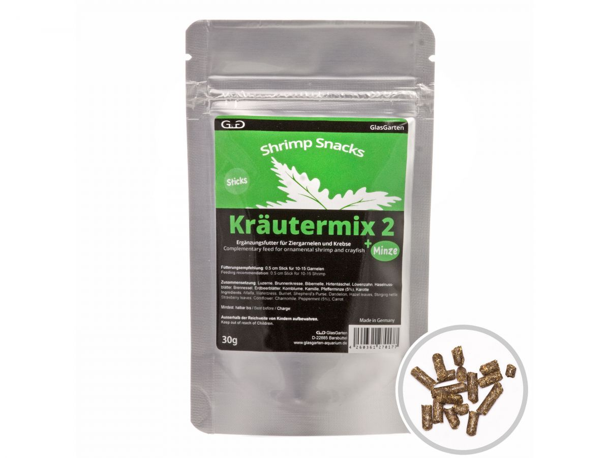 GlasGarten Shrimp Snacks Kräutermix 2 + Máta 30 g